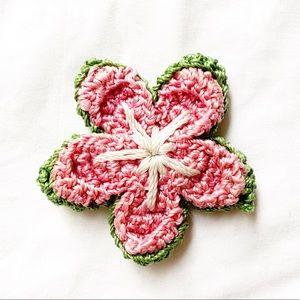 Crochet Flower Brooch Lapel Pin